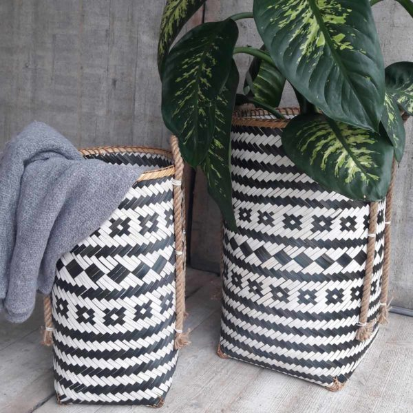 Mand Grijs/Wit/Touw Decoratie