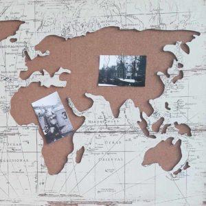 Memobord wereldkaart ingezoomd