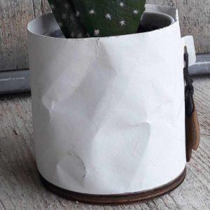 Papieren look bloempotje ingezoomd